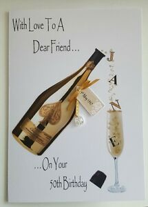 Image Is Loading Personalised 50th Birthday Card Friend Daughter Champagne 16th