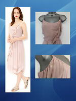 MONSOON Stunning Melissa Cami Pleated Asymmetric Pink Dress 12  EU 40