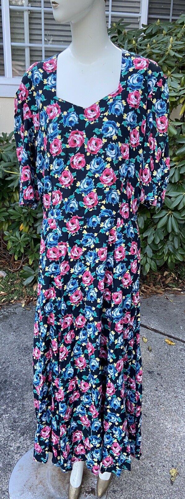 80s 90s Vtg Floral Print Laura Ashley Dress Cotta… - image 2