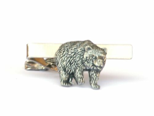 Bear Tie Clip Bar Tack Slide Mens Pewter Wild Brown Grizzly Gift Present