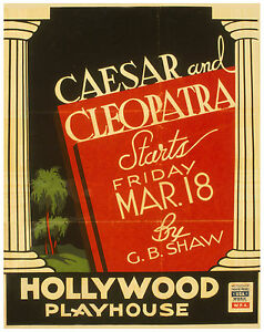 """Vintage Classic Art Print Poster """"Caesar and Cleopatra, by G.B. Shaw..."""" ca.1938"""