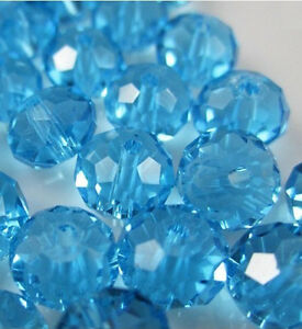 NEW-Jewelry-Faceted-30pcs-Rondelle-glass-crystal-5040-6x8mm-Bead-sky-blue-TAG42