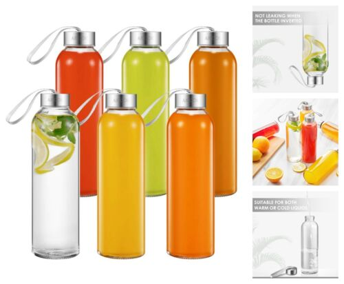 Sports Glass Water Bottles 6-Pack  with Carrying Loop Leak Proof Easy Caps 18Oz