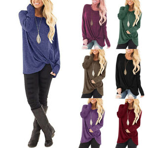 US-Womens-Autumn-Crew-Neck-Long-Sleeve-Tops-Blouse-Baggy-Pullover-Jumper-Sweater
