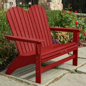 Fine Details About Portside Double Adirondack Bench By Polywood Patio Garden Chair Red Inzonedesignstudio Interior Chair Design Inzonedesignstudiocom