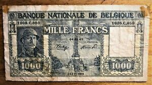 BELGIUM-1000-FRANCS-of-WWII-1945-PICK-128b-with-GREAT-SERIES-1008-C-080