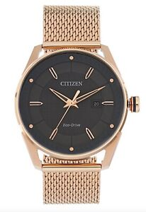 Citizen-Eco-Drive-Watch-Solar-Gray-Date-Dial-Rose-Gold-Steel-Mesh-BM6983-51H