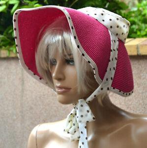 Chapeau-capeline-Femme-visiere-rose-pois-vintage-taille-unique-Tara-zaza2cats