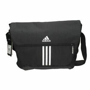 Detalles de V8689 Hombre Adidas Negro Mensajero Escuela Informal Deportivo Bolso Cruzado
