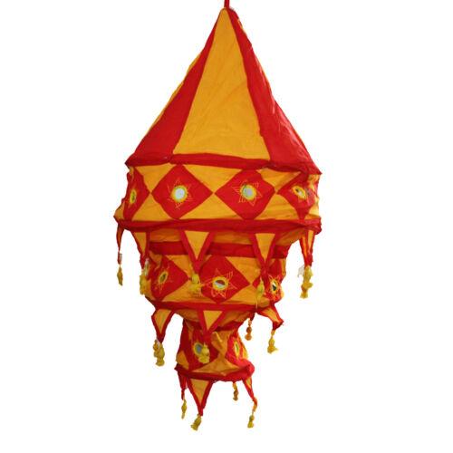 Lampe Hängelampe Stofflampe Lampion Lampenschirm aus Baumwolle rot orange 3 s