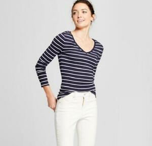 0cf0d8be0aac A New Day - Women's Navy Stripe Fitted Long-Sleeve V-Neck Shirt ...