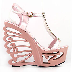 e3d734996ab Pink Silver T-Strap Bride Wedding Wedge Butterfly Heel Sandals Size ...