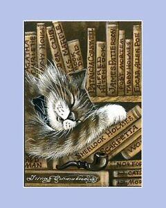Sepia Cat ACEO Print Librarian by I Garmashova