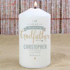 Personalised GODFATHER CANDLE, Christening Gift, Baptism Gift, Godparent Gift