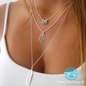 Silver-or-Gold-3-Three-Tier-Layer-Feather-Leaf-Turquoise-Boho-Style-Necklace-USA