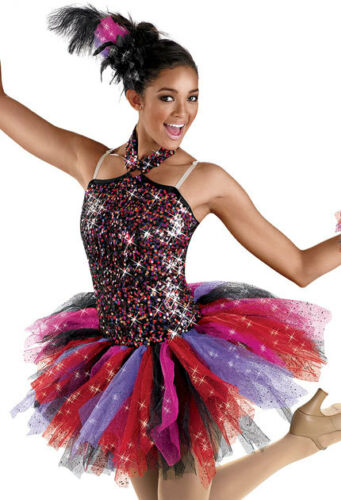 NEW /'Dancing Flame/' Black Red Purple Tap Jazz Dance Competition Pageant Costume