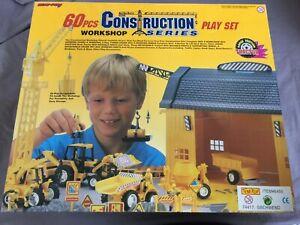 60-teiliges-Baustellen-Spiel-Set-Fahrzeuge-New-Ray-Construction-Serie-Workshop