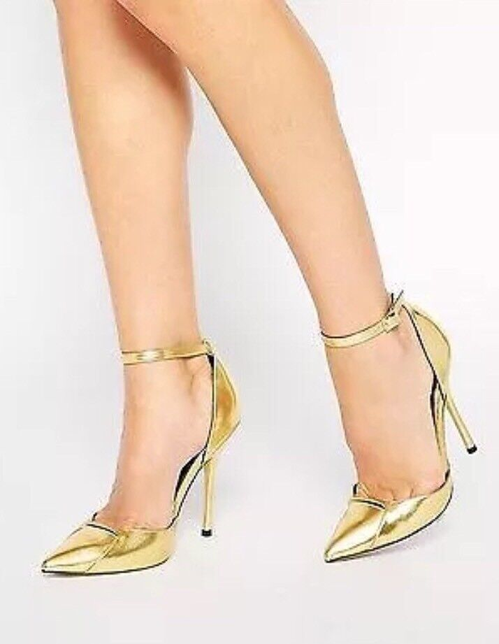 NEW  Heels by ASOS Collection gold High Heel Strappy shoes   Sz 7 Sold Out