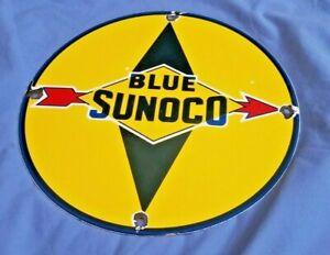 BLUE-SUNOCO-GASOLINE-PORCELAIN-GAS-VINTAGE-STYLE-SERVICE-STATION-PUMP-SIGN