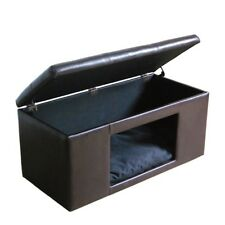 Ottoman With Pet Bed Hidden Bench Hideaway Dog Cat Comfy Beds for