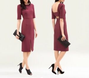LK-BENNETT-Calia-Red-Purple-Burgundy-Fitted-Midi-Dress-UK-12-RRP-275-Tags-incl