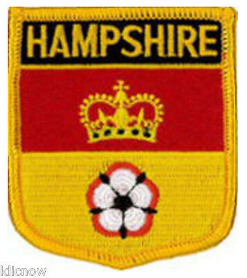 "Hampshire County (Shield) Embroidered Patch 6cm X 7cm (2 1/2"" X 2 3/4"")"