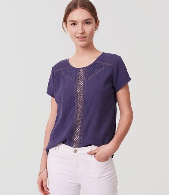 NWT Ann Taylor Loft Short Sleeve Eyelet Trim Tee Top $40 Blue