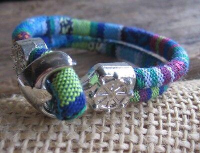 AnpassungsfäHig Ethno Armband Blau Bunt Herren Damen Surfer Unisex Bracelet Anker Türkis Neu