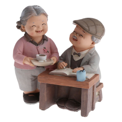 Old Lover Couple Doll House Miniatures Landscape Decor Drinking Tea