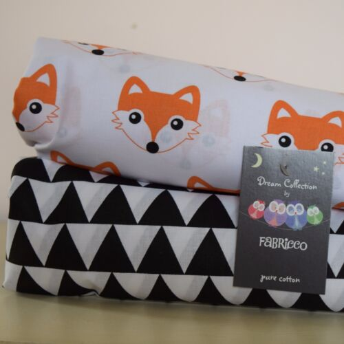 Cot Bed Fitted Sheet 100/% COTTON Black White FOX TRIANGLE 120 X 60 CM 140 X 70CM
