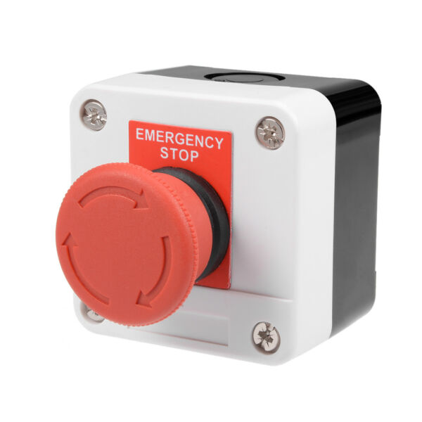 uxcell/® Push Button Switch Station 400V 10A//6A Red Mushroom Self Lock Emergency Stop