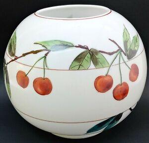 Vintage-Lamp-Shade-Cherries-Hand-Painted-GWTW-Round-Milk-Glass-Hurricane-RARE