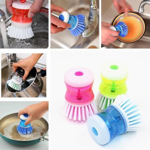Spülbürste mit Spülmittel Spender Geschirrbürste Topfreiniger Reinigungsbürste d