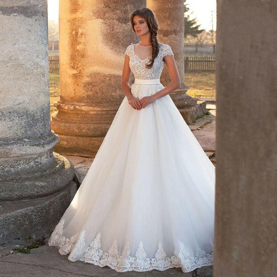 Modest Applique Lace Cap Sleeve A Line Wedding Dress Train Bridal Gown 4 6 8 10+