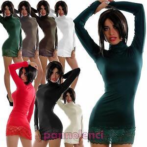 Caricamento dell immagine in corso Miniabito-donna-maxitop-fondo-PIZZO- vestito-vestitino-lupetto- 4becf04310b