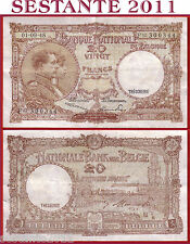BELGIUM  BELGIO  Banque Nationale Belgique 20 FRANCS 1.9. 1948  -  P 116 - BB/VF