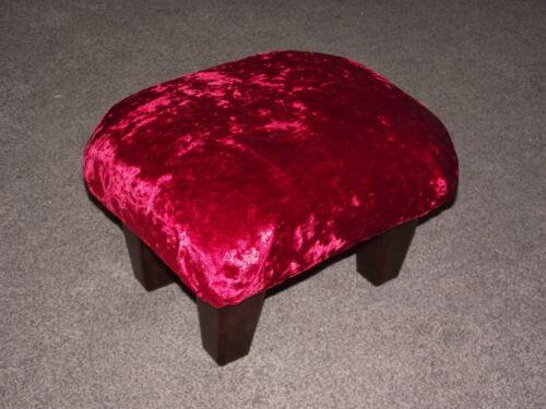 Superbe Rouge Velours Petit repose-pieds avec foncé en bois massif pieds repose-pieds