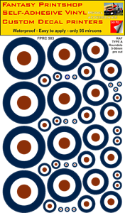 Raf Cocarde Pack Mixte Autocollant Vinyle Type A Roundel 5mm -