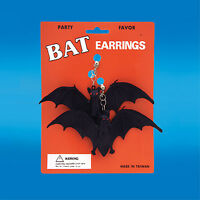 Wholesale-12-gothic Vampire Giant Black Bat Earrings Costume Party Favor-clip On