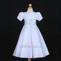 New White Pleated Communion Royal Wedding Jr. Bridesmaids Baby Flower Girl Dress