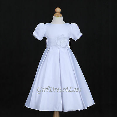 WHITE PLEATED WEDDING PARTY SLEEVE FLOWER GIRL DRESS 6M 12M 18M 2/2T 3/4 6 8 10
