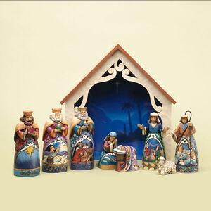 Jim-Shore-034-AWAY-IN-A-MANGER-034-9-Piece-Mini-Nativity-Set-Beautiful