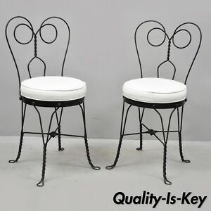 Pair Of Antique Twisted Heart Back Wrought Iron Ice Cream Parlor Dining Chairs Ebay