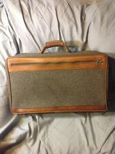"""Vtg Hartmann Tweed & Belting Leather 21"""" Carry-On Suitcase Luggage Suit Case"""