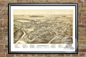 Old-Map-of-Lancaster-NY-from-1892-Vintage-New-York-Art-Historic-Decor