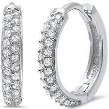 Micro Pave Cubic Zirconia Huggie Hoop .925 Sterling Silver Earrings