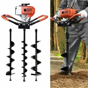 USA 52CC Post Hole Digger Gas Powered Earth Auger Borer Fence Ground Drill+3 Bit