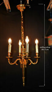 1930s-French-empire-Omalu-cast-bronze-4-arm-candle-light-chandelier-electrolier