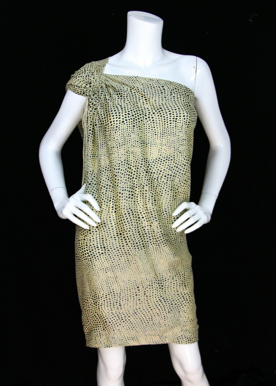 Phillip Lim 3.1 NWT Sz 6 One-Shoulder Silk Burnout Leopard Grecian Column Dress