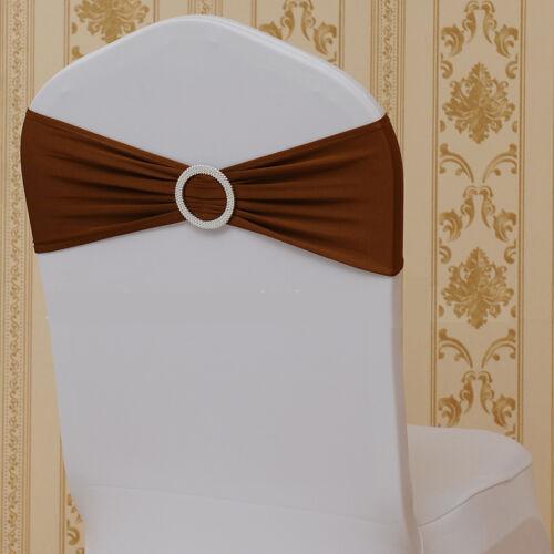 10-100pcs Spandex Stretch Chair Cover Sash Bow Wedding w// Buckle Slider Sashes